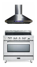 Verona VEFSEE365SS 36  Electric Range Oven Stainless Steel  Hood 2 Pc Package