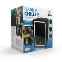 Personal Chiller LED Lighted Mini Fridge with Glass Door