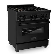 ZLINE 30  4 0 cu  ft  Black Stainless Dual Fuel Range Gas Cooktop  Electric Oven