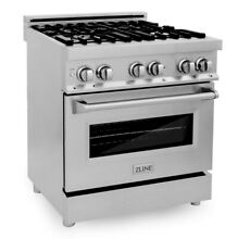 ZLINE 30  4 0 cu  ft  Dual Fuel Range with Gas Stove Stainless Steel  RA30