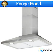 30  Kitchen Wall Mount Stainless Steel Range Hood Push Panel Stove LED Vented