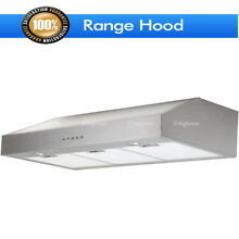 30  Stainless Steel Kitchen Wall Mount Electronic Switch Range Hood  LED Light
