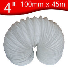 100mm x 45m Universal 4  PVC Flexible Ducting Tumble Dryer Extractor Vent Hose
