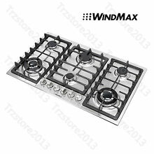 34 inch Built In 6 Burner Cooktop Stainless Steel Stove LPG NG Oven Home Gas Hob