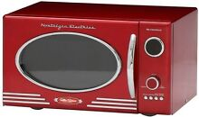 Red Retro Series Countertop Microwave Vintage Oval Window 0 9 cu ft Cook Meals
