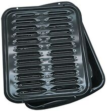 Porcelain Broiler Pan 2 Piece Kitchen Black Oven Rack Rectangle 2 qt Range Kleen