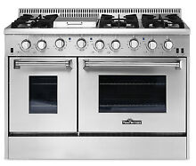 Gas Range 48  Thor Kitchen Pro Double Oven Stainless Steel Griddle 6 Burner