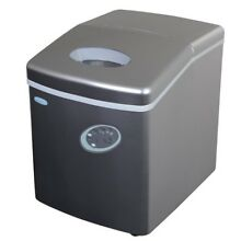 Portable Ice Cube Maker Machine Silver Compact Built Freestanding 28 Lb Per Day