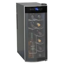 12 Bottle Wine Cooler Chiller Refrigerator Countertop Thermoelectric Black LED