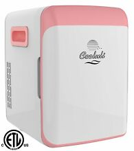 Cooluli Mini Fridge Electric Cooler and Warmer  15 Liter   18 Can  AC DC   Pink