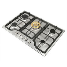 METAWELL 30 Stainless Steel Built in 5 Stove Natural Gas Hob Gold Burner Cooktop