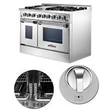 48 Professional Stainless Steel Drip Pan Dual fuel Range Kitchen 2Ovens Cooktop