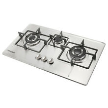 28 35  Simple Silver Stainless Steel  Built In 3 Burners Stove Cooktops Gas Hob