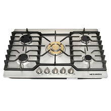 Cooking Cooktops 30inch Stainless Steel Gold Built in 5 Burner Stoves NG LPG Hob