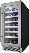 15 in Wide Stainless Steel Wine Cooler 28 Bottle Capacity 2 1 Cu Ft Refrigerator