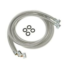 6 ft Stainless Steel Washer Hoses with 90  Elbow Washing Machine Parts 2Pack NE