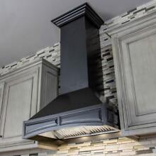 ZLINE 30  NEW DESIGNER WALL RANGE HOOD BLACK SOLID WOOD CROWN 321CC 30