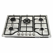 METAWELL 30inch Stainless Steel 5 Burners Built in Stove Cooktop Natural Gas Hob