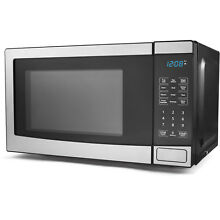 New Compact Kitchen Mainstays 0 7 cu ft 700W Microwave Oven  Stainless Steel