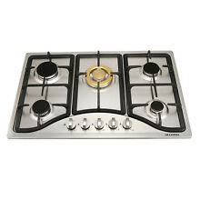 Luxury 30 Steel Built in 5 Burner Stoves NG LPG Hob  Gold Burner Cooking Cooktop