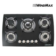 USED Seller Refurbish   30  Black Glass 5 Burners Gas Cooktops