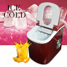 2 2L Red Portable Countertop Ice Cube Maker Fast Ice Make Machine 12KG   24Hours