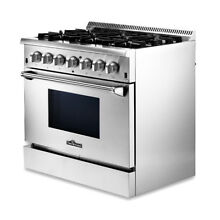 36  Stainless Steel Dual fuel Range NG LPG Top burner Electric Bottom Oven Home