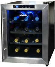 Thermoelectric Wine Cooler 12 Bottle Fridge Stainless Trim Clear Door LED Light