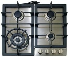 Gas Cooktop Cast Iron Stainless Steel Right Side Standard Dial Control Recessed