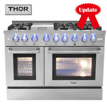 48  Thor Kitchen Gas Range HRG4808U Double Oven Stainless Steel 6 Burners Stoves