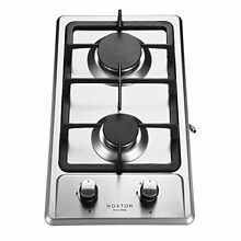 Noxton 12 Inch Built in 2 Burner Gas Cooktop Stove in Stainless Steel16207btu