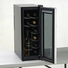 Wine Cooler Refrigerator Beverage Chiller 12 Bottle Storage Counter Fridge Gray