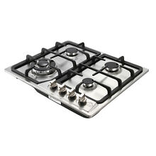 Stainless Steel Silver 23  4Burner Gas Hob NG LPG COOKTOP Stove Battery Ignition