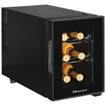 Wine and Beverage Cooler Chiller Refrigerator Cellar Fridge LED Light 6 Bottles