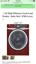 Brand new GE front load washer  still in box  Ruby Red