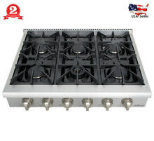 36 Inch Pro Stainless Steel Gas Range Top Stove 6 Burner Kitchen Cooker Cooktop