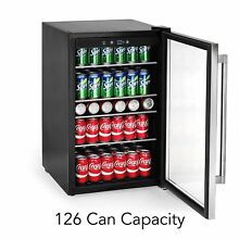 Tramontina 126 Beverage Can Cooler Stainless Steel Fridge Glass Shelves No Tax