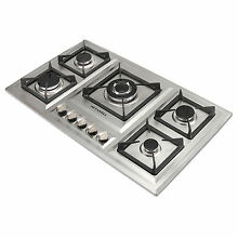 34  Stainless Steel Cooktop 5 Burners Built In StoveLPG NG Gas Hob Euro Style