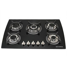 30inch Black Tempered Glass Built in Gas Cooktop Kitchen 5 Burner LPG NG Gas Hob