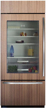 Sub Zero BI 36UG O LH 36  Built In Refrigerator Bottom Freezer Panel Ready Glass