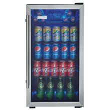 Beverage Cooler 120 Cans Chiller Mini Fridge Refrigerator Wire Shelf Glass Door