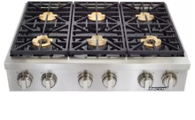 Dacor DYRTP366SNG Discovery 36 Inch Gas Rangetop 6 Burners SmartFlame Technology