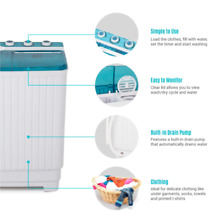 Della Small Portable Mini Compact Twin Tub Washing Machine Washer Spin Dryer