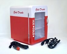 Refreshing Cold Drinks Mini Fridge Collector Cola Refrigerator AC DC Powered