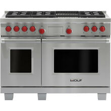 Wolf 48  Dual Fuel 6 Burner Range With Charbroiler   DF486C LP