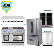 48  Dual Fuel Gas Range  48in Range Hood Dishwasher Wine Cooler Refrigerator