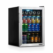 NewAir Beverage Cooler and Refrigerator  Small Mini Fridge with Glass Door  Perf