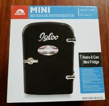 New Igloo Mini Beverage Refrigerator 6 Cans 4 Lit Black Retro Fridge Dorm Office