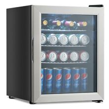 52 Can Beverage Refrigerator Cooler Mini Fridge with Glass Door Stainless Steel