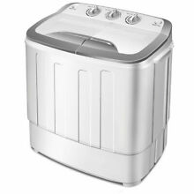 Mini Compact Twin Tub Washing Machine Washer 13lbs Spin Spinner Gray